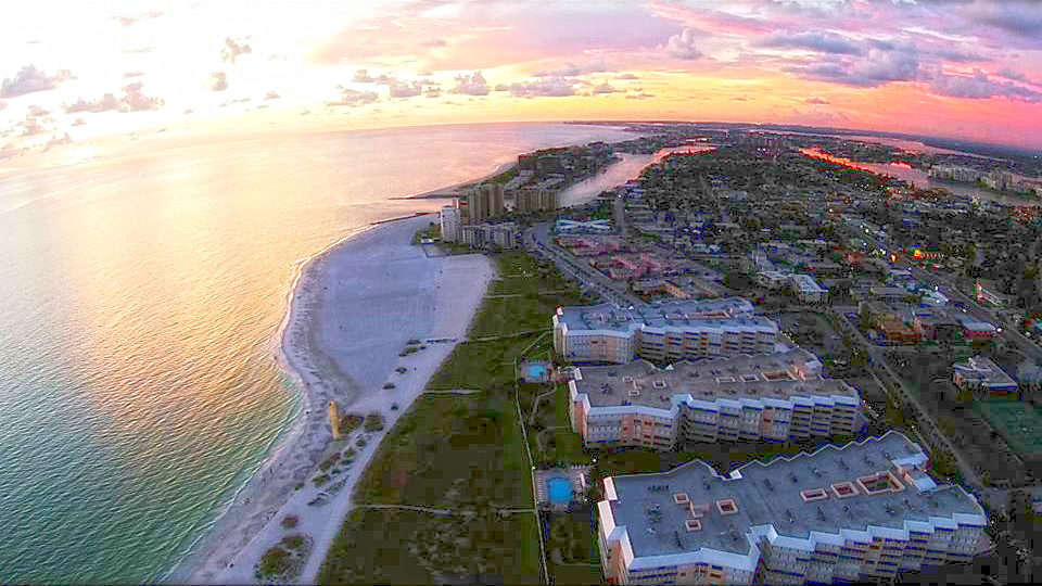 Sunset over the north end of St. Pete Beach, Florida.  Photo courtesy of Clear Vision Media.
