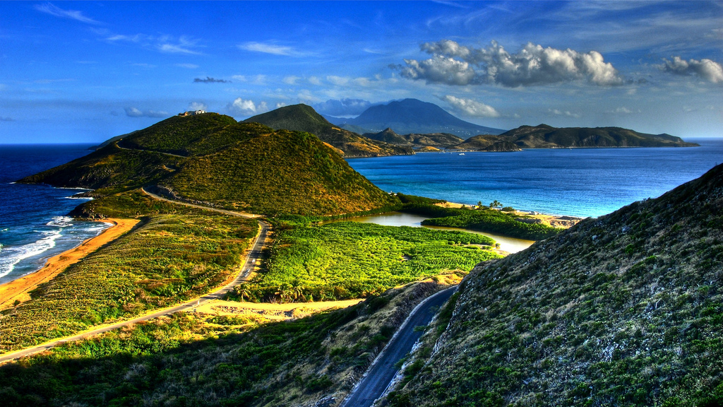 Southeast peninsula of St. Kitts, looking toward Nevis, Photo credit flickr user slack12