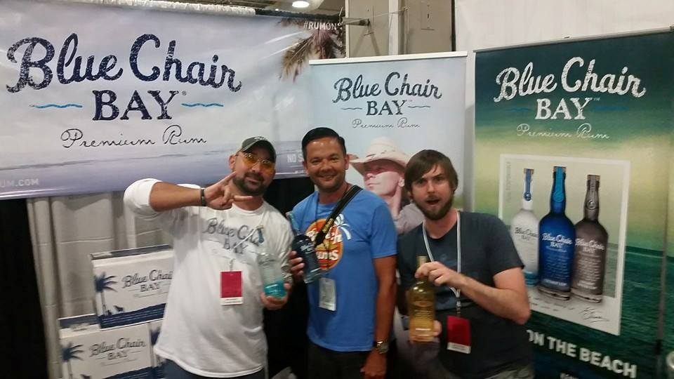 Kenny Chesney photo bombing my picture with Frank and Rowdy from Blue Chair Bay Rum.