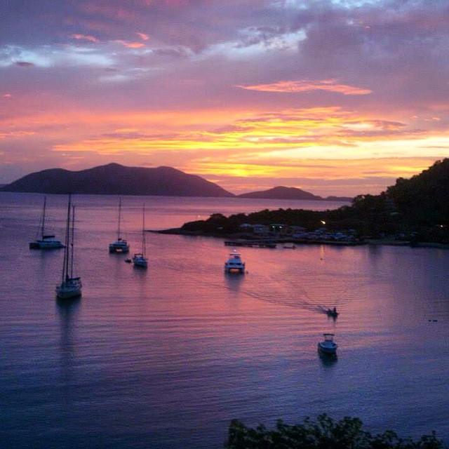 Sunset over Cane Garden Bay on Tortola in the British Virgin Islands. Photo by Instagram user @alidriscoll13