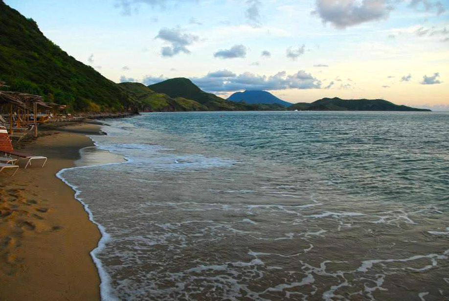 View towards Nevis from Shipwreck Beach Bar, St. Kitts