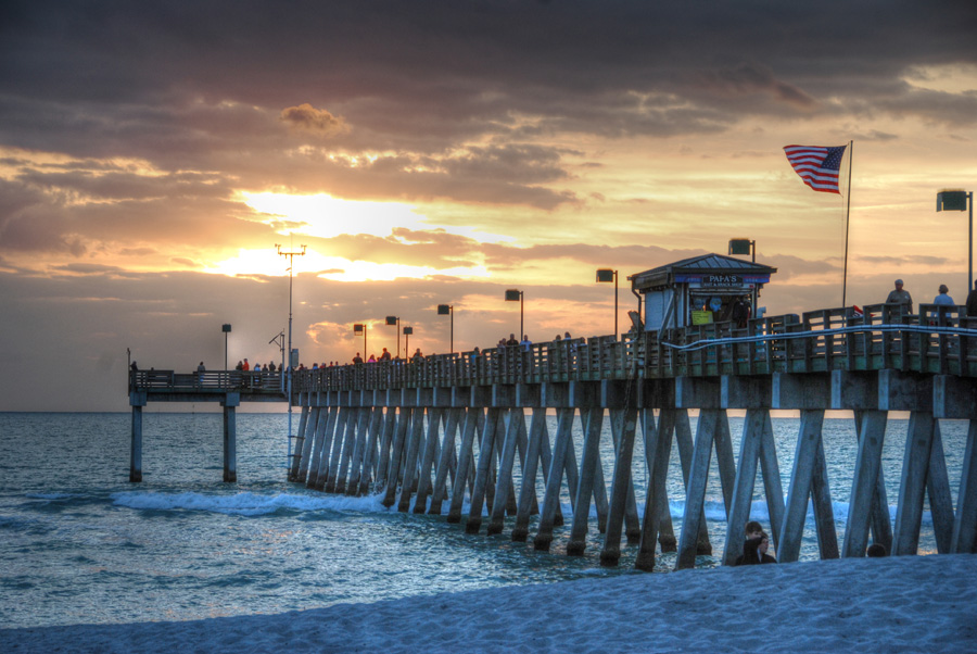 Sunset at Sharky's on the Pier, Venice, Florida.