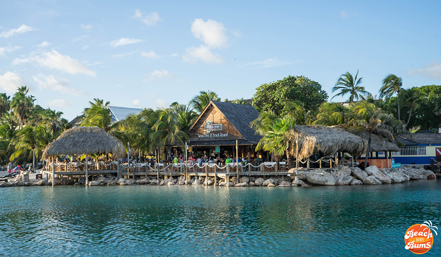View of Hemingway Beach Bar in Curacao from across the lagoon
