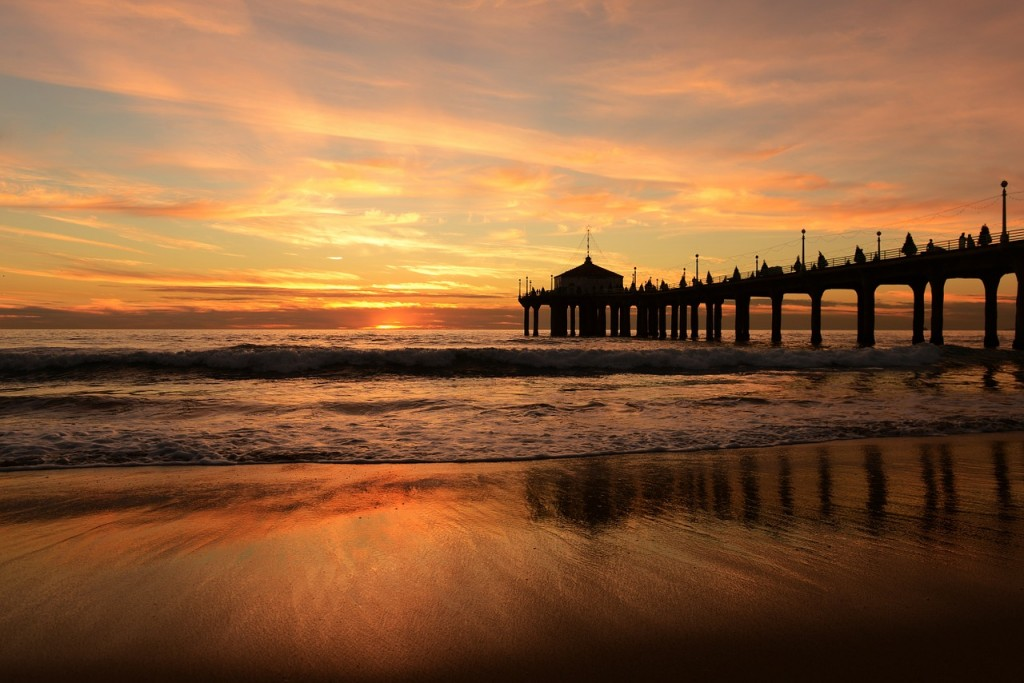 waves, sunset, ocean, jetty, pier