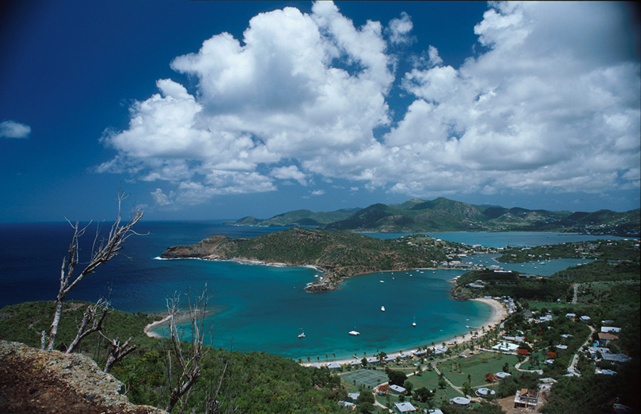 View from Shirley Heights of English Harbour. Courtesy Antigua & Barbuda Tourism Authority