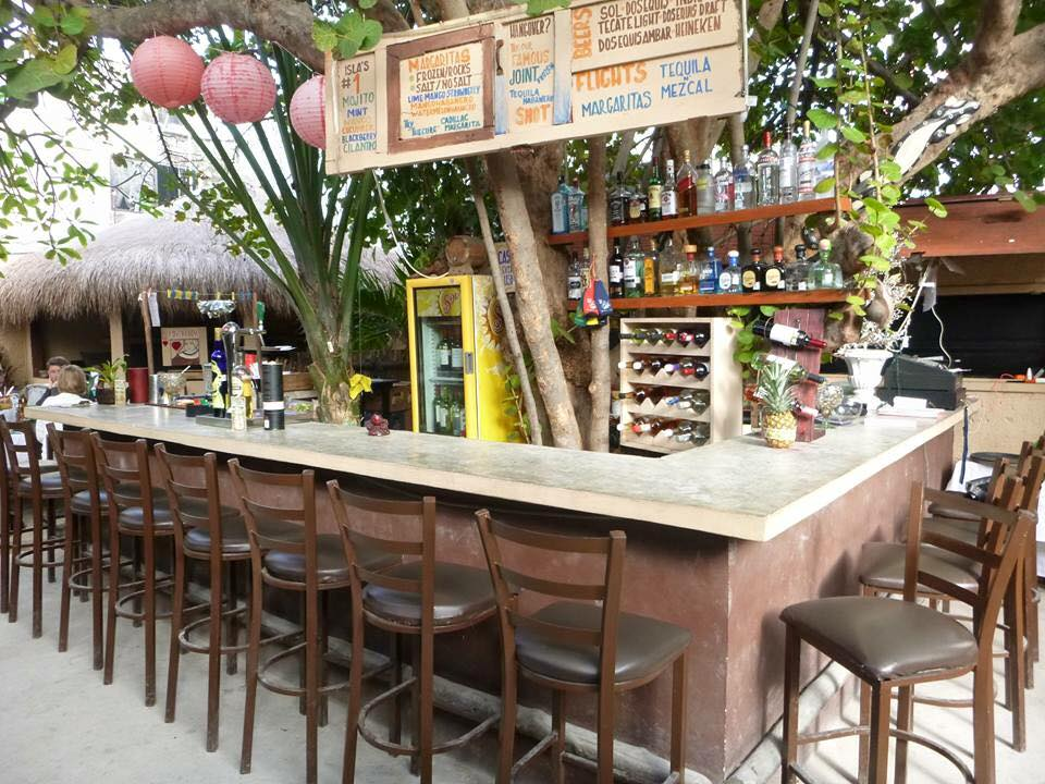 Outdoor bar at El Patio Caribbean Grill, Isla Mujeres, Mexico