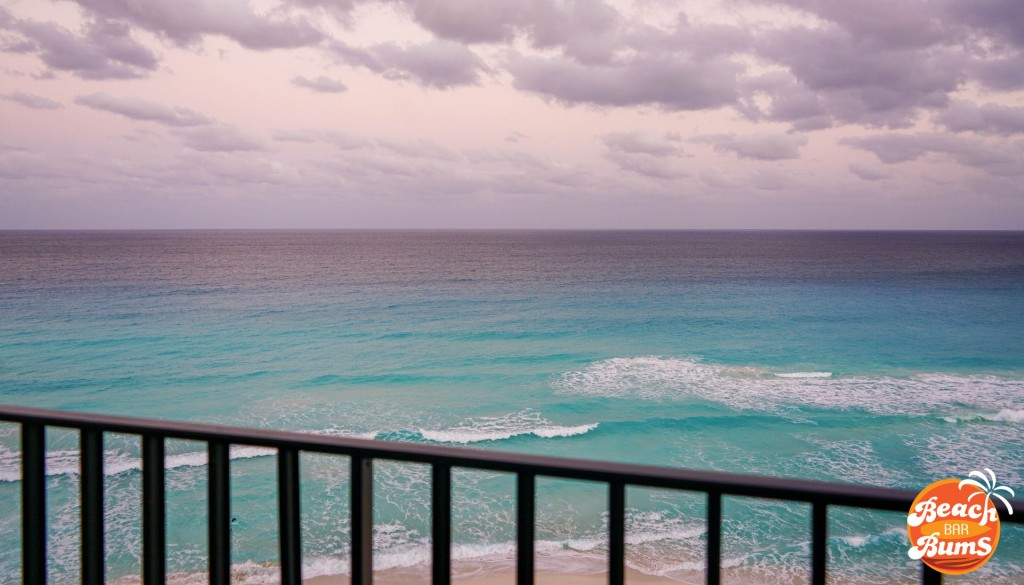 View from the balcony of the beach in Cancun, Mexico