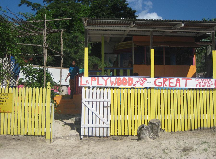 Beach view of La Plywood Beach Bar, Mourne Roughe_BBC Beach