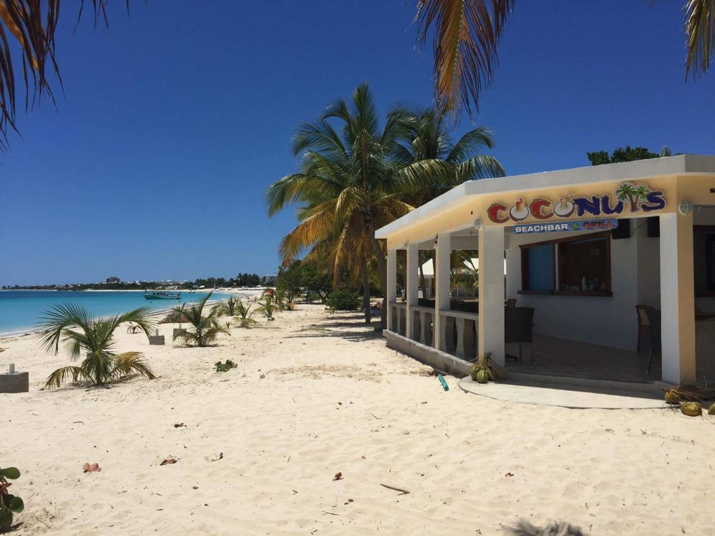 Looking down the beach at Rendezvous Bay from Coconuts Beach Bar, Anguilla Great House