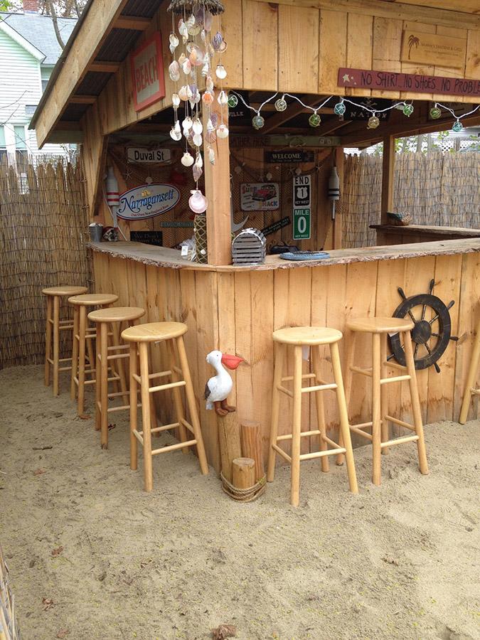 Plenty of seats at Shawn and Tiffany's backyard beach bar