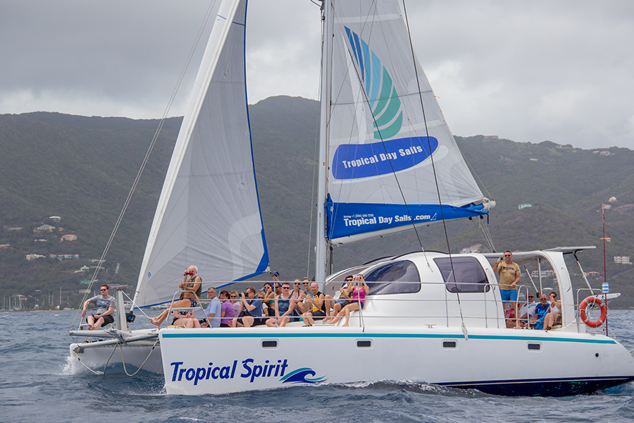 Sailing throughout the British Virgin Islands with Tropical Day Sails.