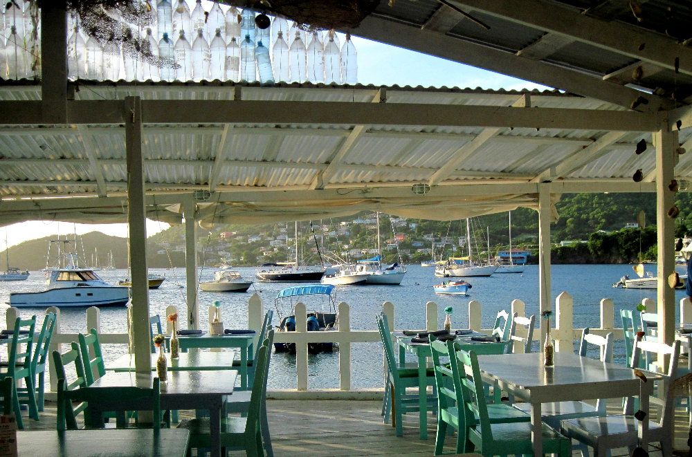 View from this Caribbean waterfront bar and restaurant for sale in St.  Vincent and the Grenadines.