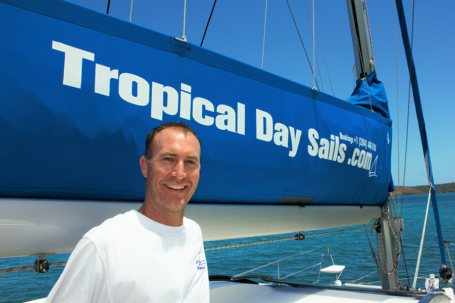 Jacques Schoonees on board his catamaran at Tropical Day Sails in the British Virgin Islands.
