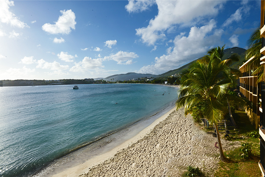 The beach at Lindbergh Bay in St. Thomas, home to Emerald Beach Resort.