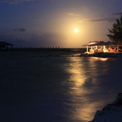 Bahamas Beach Bars:  Supermoon Over Small Hope Bay Lodge Beach Bar, Andros