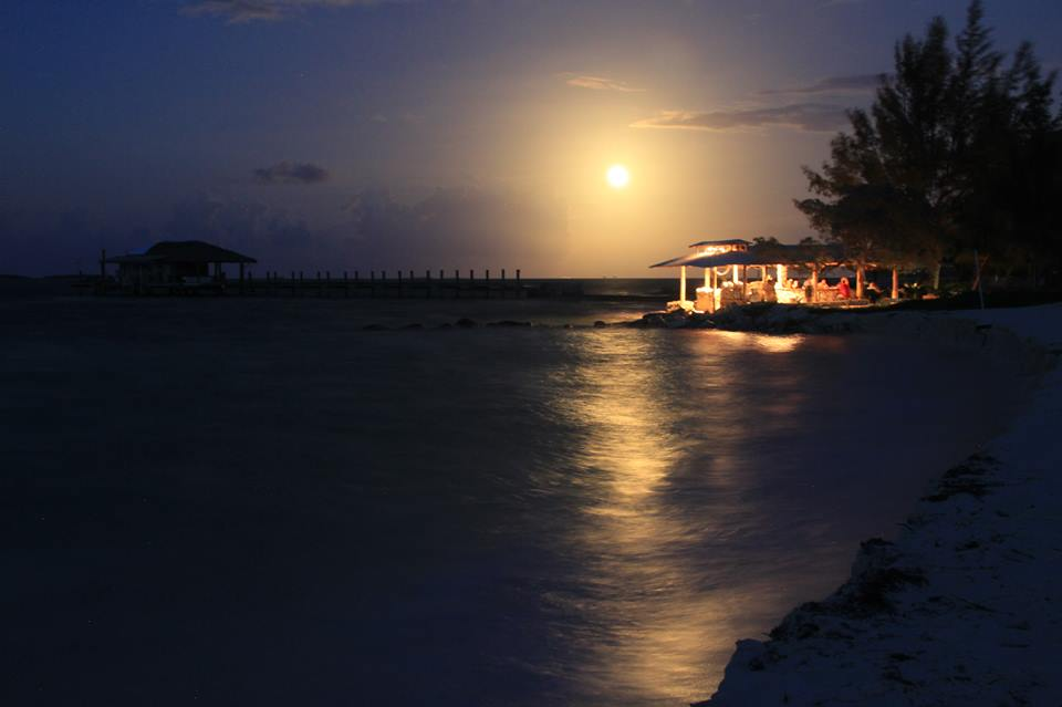 Supermoon Over Small Hope Bay Lodge Beach Bar