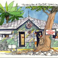 Cayman Islands Beach Bars – The Wreck Bar at Rum Point … in Watercolor