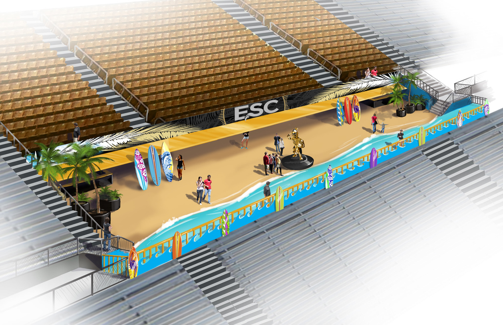 Conceptual view of the sundeck and chairback seating above the ESC. Courtesy UCF Knights.