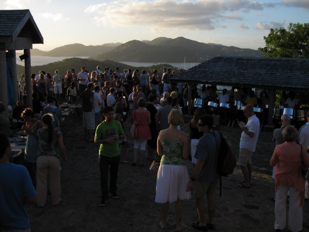 Crowd at Shirley Heights, Antigua.
