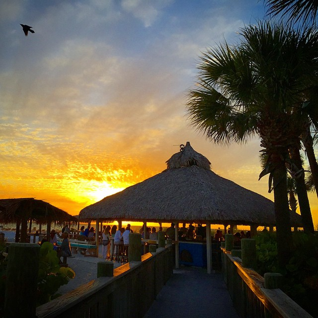 Sunset at the Lido Key Tiki Bar in Florida. Photo credit @helloskipper