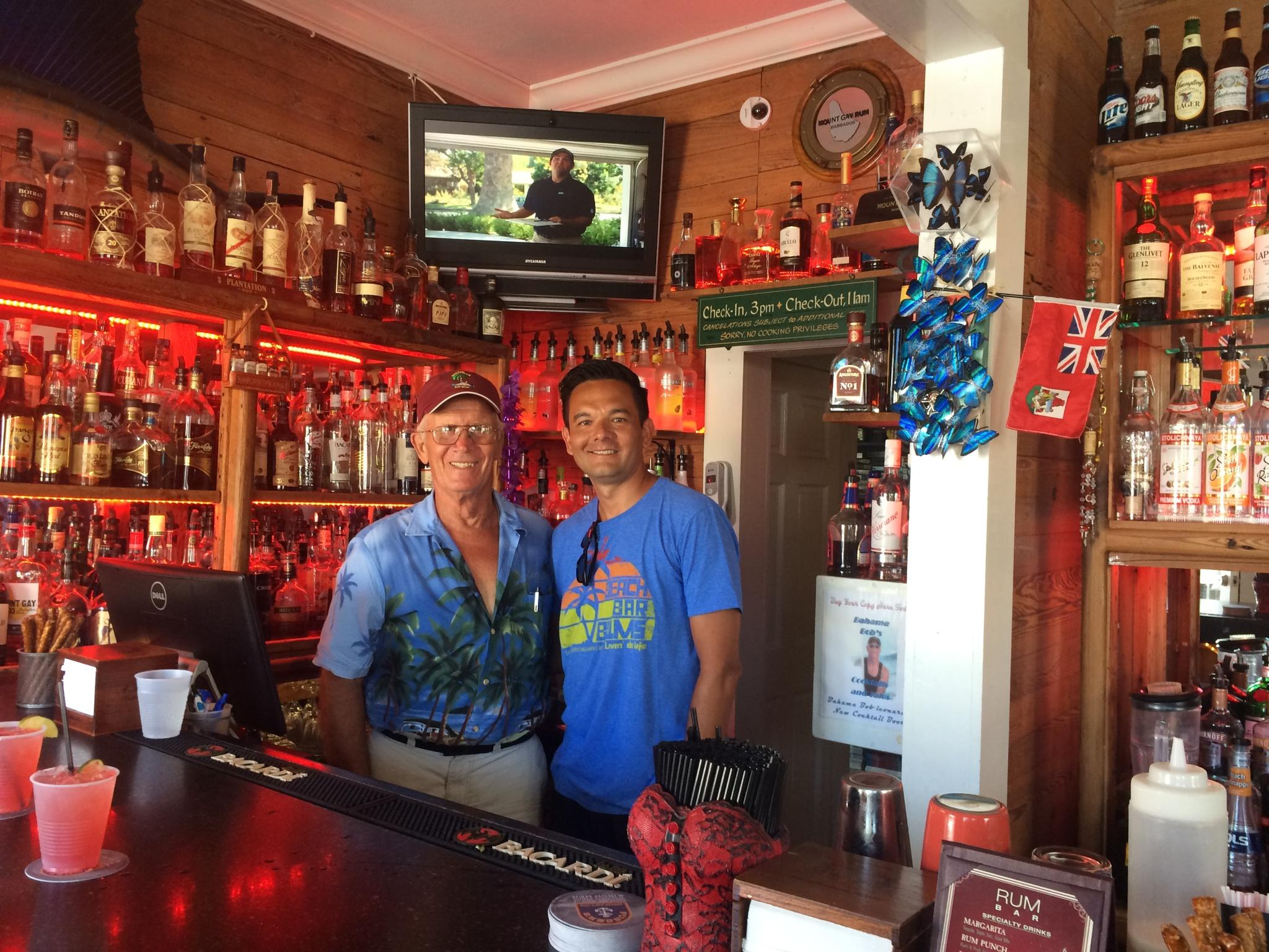 Meeting Bahama Bob Leonard at the Rum Bar at the Speakeasy Inn in Key West, Florida.