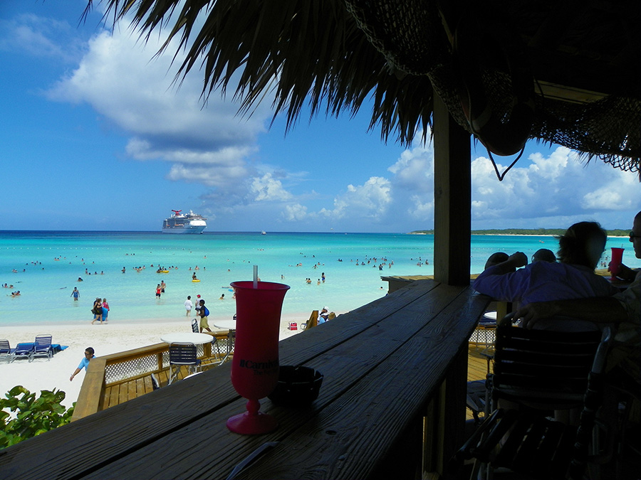 View from beach bar at Half Moon Cay, Bahamas