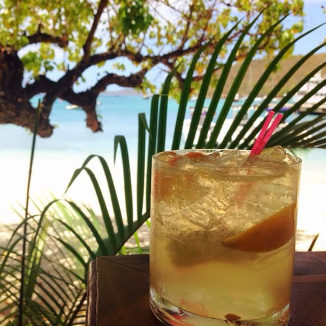 Cocktails with a view at the Waterfront Bistro, Cruz Bay, St. John. Image by Instagram user @hula.land