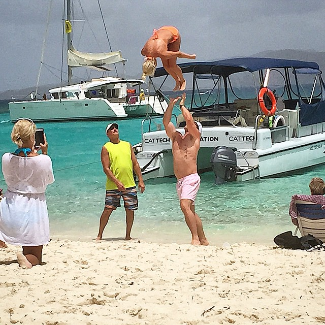 Flipping for the Soggy Dollar Bar, Jost Van Dyke, British Virgin Islands. Photo by @helloskipper.