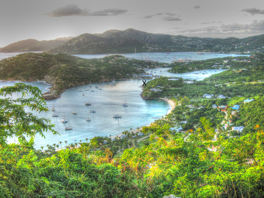"View of English Harbour, Antigua. ""X"" marks the approximate location of the former Salty Dog Pub."