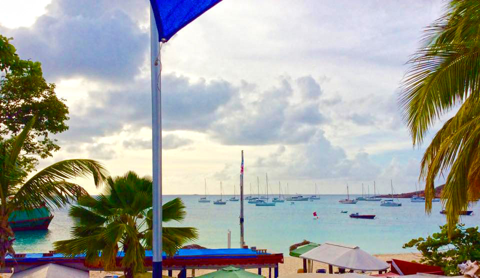 View of Road Bay from the apartment at Roy's Bayside Grill, Anguilla.