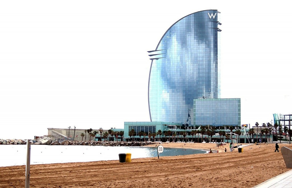 Beach by the W Barcelona, Spain.