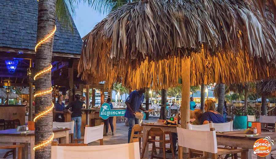 Dining area at Hemingway Beach Bar in Curacao