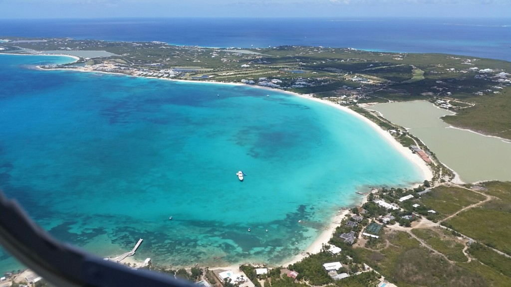 Aerial view of southwest coast of Anguilla