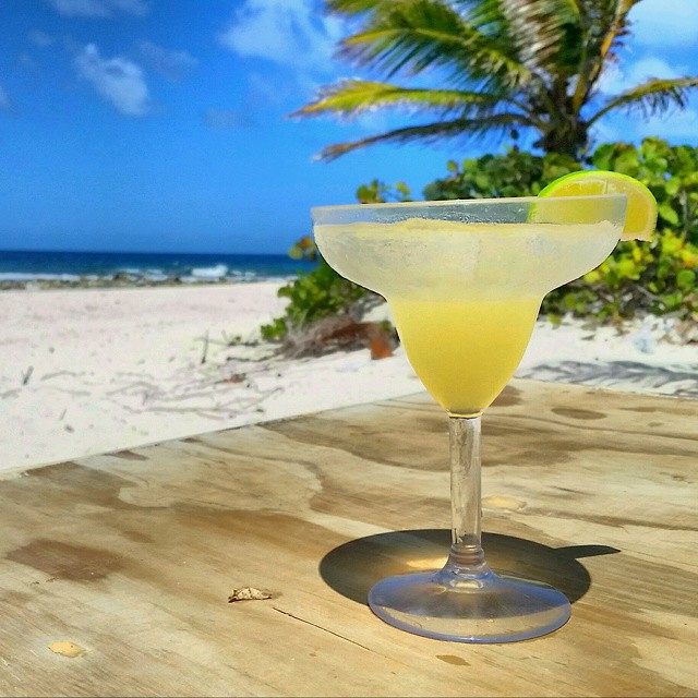 Posing the margarita on Sandy Island, Anguilla