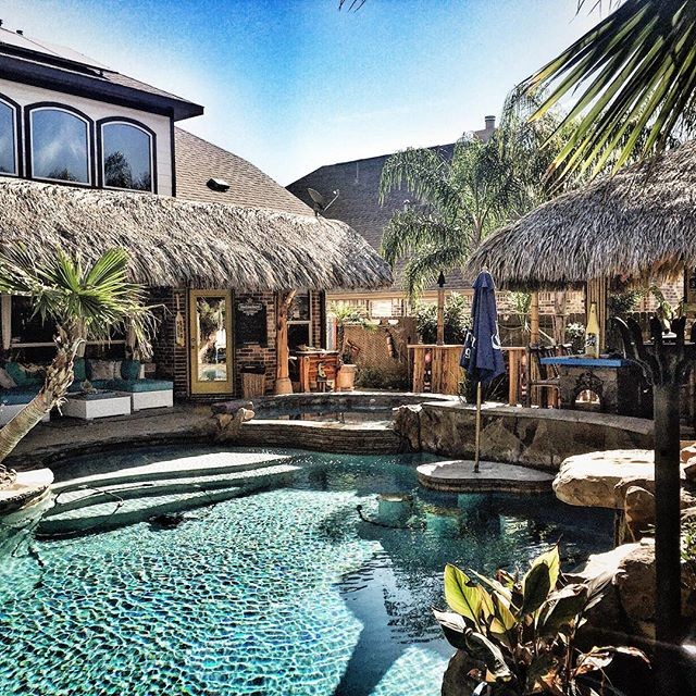 This backyard Texas-sized tiki bar (in Texas) illicits inordinate amounts of envy.