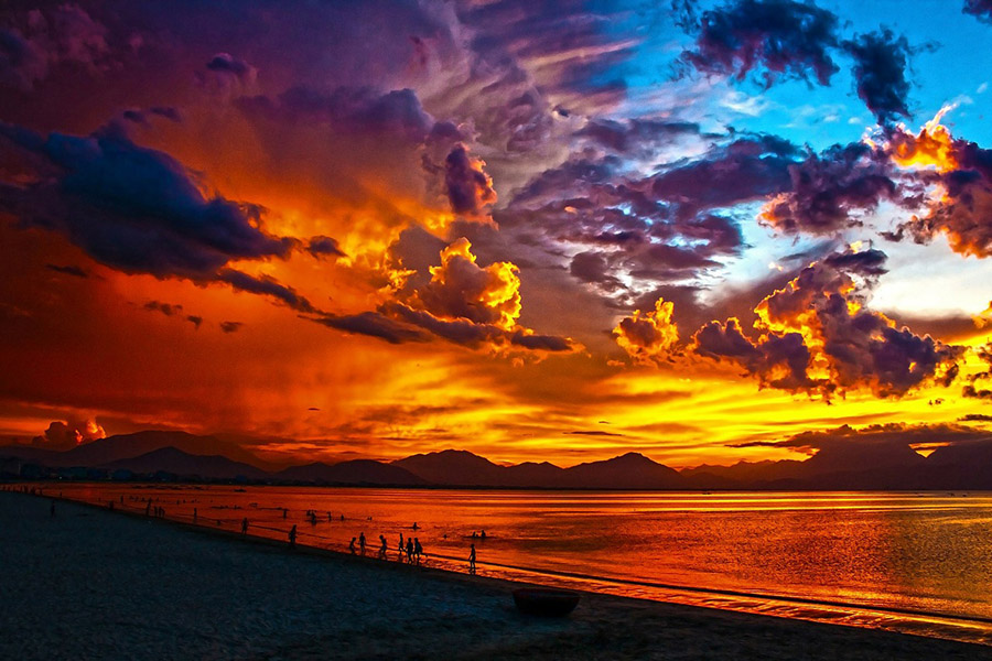Sunset over Danang Bay, Vietnam