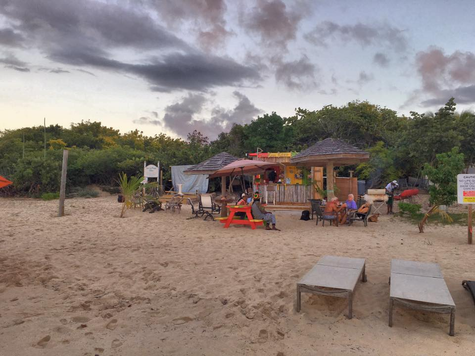 View from the beach of Anguilla's Bamboo Beer Box on Meads Bay