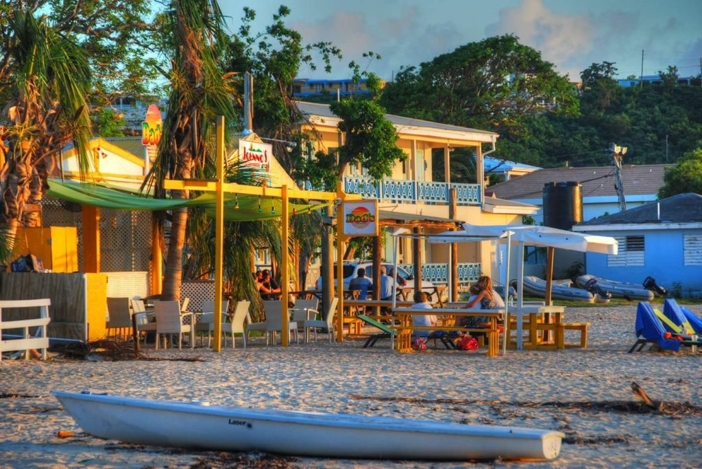 Hard to beat sunset at Dad's and Johnno's, two of the many beach bars on Road Bay in Sandy Ground, Anguilla