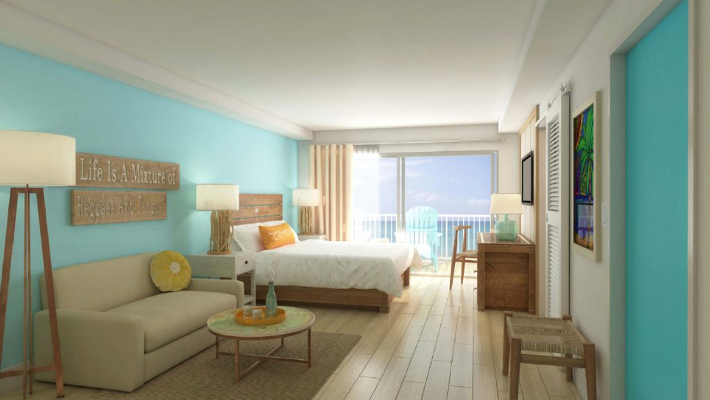 Rendering of the King bedroom. Photo courtesy of Margararitaville Grand Cayman