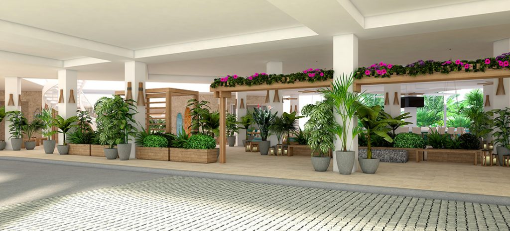 Rendering of the exterior view of the lobby. Photo courtesy of Margararitaville Grand Cayman