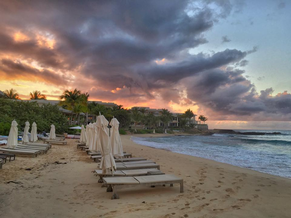 Sunset behind the Viceroy, soon to become the Four Seasons Resort and Private Residences Anguilla