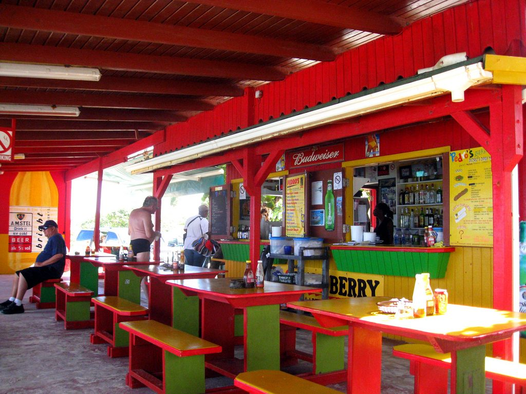 "Pedro's Beach Bar, Orient Bay, St. Martin. Photo by flickr user ""queen_of-subtle"" under license CC BY-NC 2.0"