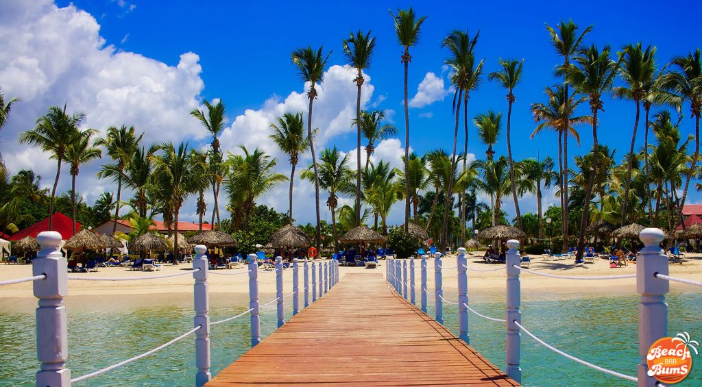 caribbean, beach, palm trees, pier