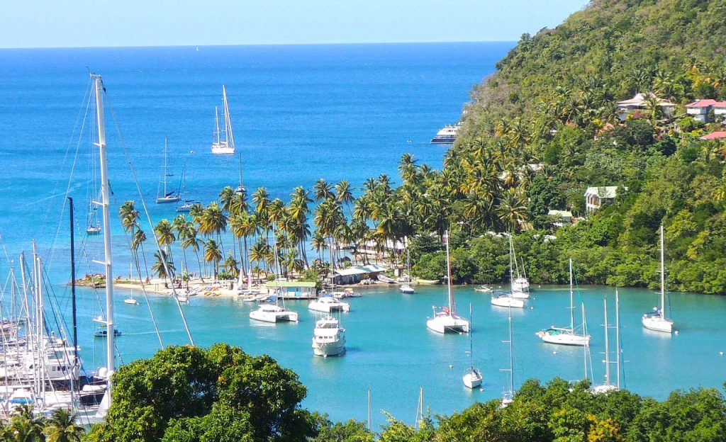 caribbean, palm trees, ocean, beach, boats