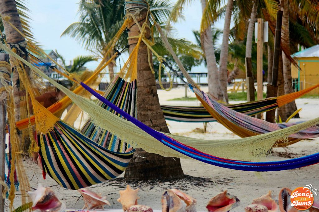 Hammocks on the beach in Caye Caulker, Belize